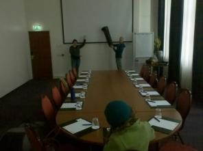 Rehearsal in a hotel conference room before the grand finale